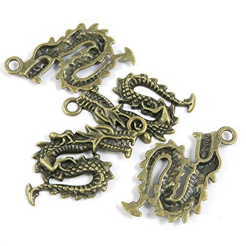 Antieke Bronzen Toon Sieraden Charms W8LI2H Chinese Draak Craft kunst maken Crafting Kralen Antiek brons