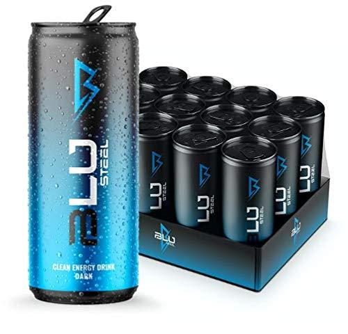 BLU Steel Clean Energy Drink Dark, 100% Natural Caffeine, Zero Sugar, Zero Calories, Green Tea, Natural Energy, Great taste. (12 of Pack)