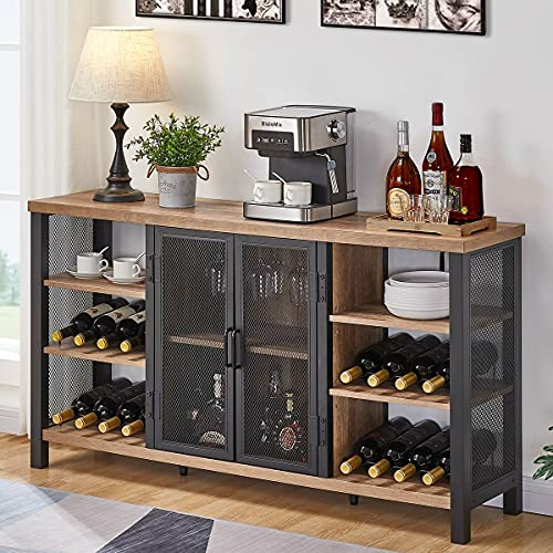 FATORRI Industrial Wine Bar Cabinet for Liquor and Glasses, Farmhouse Wood Coffee Bar Cabinet with Wine Rack, Metal Sideboard and Buffet Cabinet (55 Inch, Rustic Oak)
