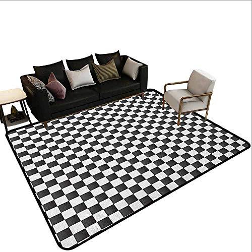 MsShe Slaapkamer tapijt geruit kleine vierkanten en strepen pastel kleur Gingham herhalende rijen vintage Tile, lichtblauw wit