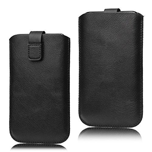 DFVmobile - Etui Tasche Schutzhülle aus Kunstleder mit Rausziehband& Klettbandverschluss für BLUBOO D5 PRO - Schwarz