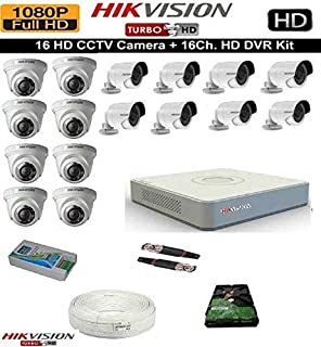 HIKVISION Full HD 2MP Cameras Combo KIT 16CH HD DVR+ 8 Bullet Cameras + 8 Dome Cameras+2TB Hard DISC+ Wire ROLL +Supply & All Required CONNECTORS