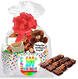 100th Birthday / Anniversary Gourmet Food Gift Basket Chocolate Brownie Variety Gift Pack Box (Individually Wrapped) 12pack