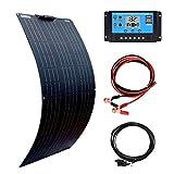 XINPUGUANG Panel Solar kit 100W 12V, Módulo Solar Mono Flexible Altamente Eficiente de 100W, Cable Solar de Regulador Solar 10A Para barco, caravana, casa móvil, sistema fuera de la red (100)