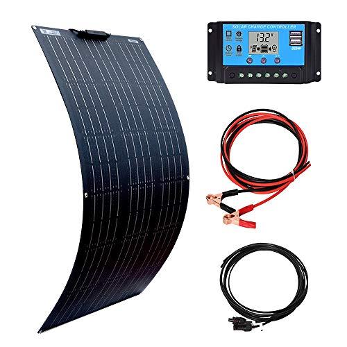 XINPUGUANG Kit pannello solare 100 watt 12 volt, moduli solari fotovoltaici flessibili mono da 100 W Regolatore di carica solare 10A per barche, roulotte, camper, ricarica batteria 12V (100)