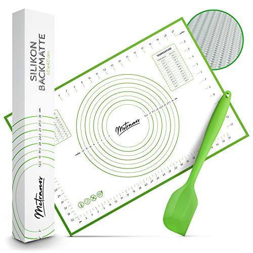 Metranos® Premium Silikon Backmatte (60x40cm) - Mit einzigartiger Glasfaserbeschichtung - rutschfeste Backunterlage - Wiederverwendbare Teigmatte - 100% BPA Frei - Knetunterlage - Backmatte Silikon