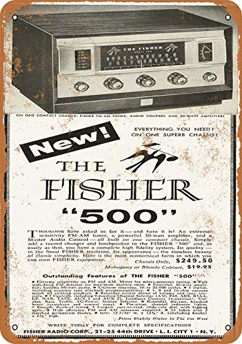 Fisher 500 Receiver Vintage Aluminum Metal Signs Tin Plaques Wall Poster for Garage Man Cave Beer Cafee Bar Pub Club Shop Outdoor Home Decor 12