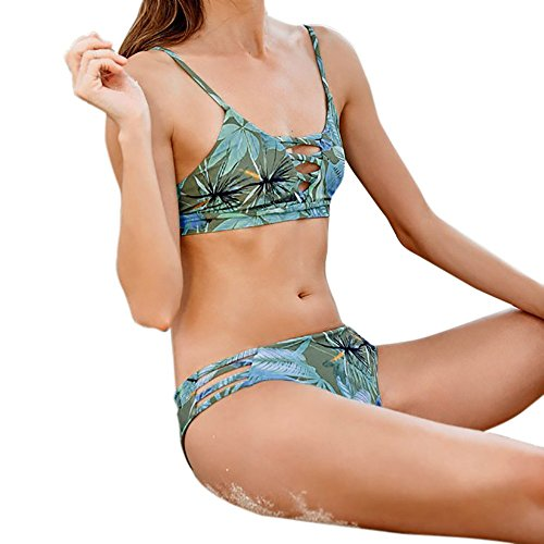 JERFER Maillot de Bain Floral rétro pour Femme Ensemble de Bikini Palm Leaf Maillot de Bain