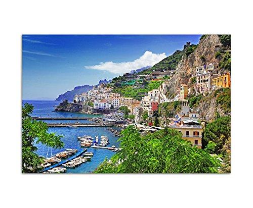 Paul Sinus Art 120x80cm - WANDBILD Amalfi Italien Meer Küste Dorf Hafen Boote - Leinwandbild auf Keilrahmen Modern Stilvoll - Bilder und Dekoration