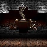 IMXBTQA Quadro su Tela Cinque 5 Tele Larghezza:150Cm,Altezza:80Cm Poster di Fumo di Fagioli di Tazza di caffè Caldo Pronto Appendere Completamente Incorniciato Elementi Multipli