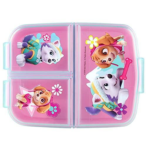 P:os 33429 - Brotdose für Mädchen mit Paw Patrol Motiv in pink und 3 Fächern mit Clip-Verschluss, ca. 14 x 18,5 x 5,5 cm groß, aus Kunststoff, bpa- und phthalatfrei, sortiert