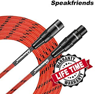 20ft Microphone Cable XLR Male to XLR Female Balanced Red Mic Cables by SPEAKFRIENDS C Series - 20 Feet