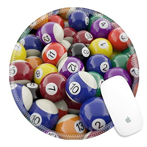 Round Gaming Mousepad 38077154 Gruppe glänzender Billardkugeln mit 3D-Illustration mit weichen Kanten