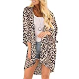 Zando Women's Boho Floral Print Kimono Beach Cover Ups Casual Loose Open Front Tops Cardigan 3/4 Sleeve Chiffon Shawls and Wraps Boho Stlye Spring Tops Sun Protection Shirts Leopard Print XL