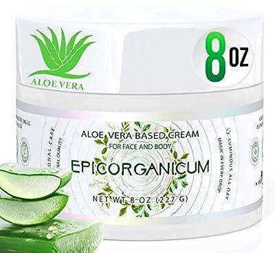 Organic Aloe Vera Moisturizing Cream - 8 oz. Body and Face Moisturizer For Acne, Psoriasis, Rosacea, Eczema, Aging, Itchy Dry or Sensitive Skin Care Cream, Skin Care Face Natural Cream (8 oz)