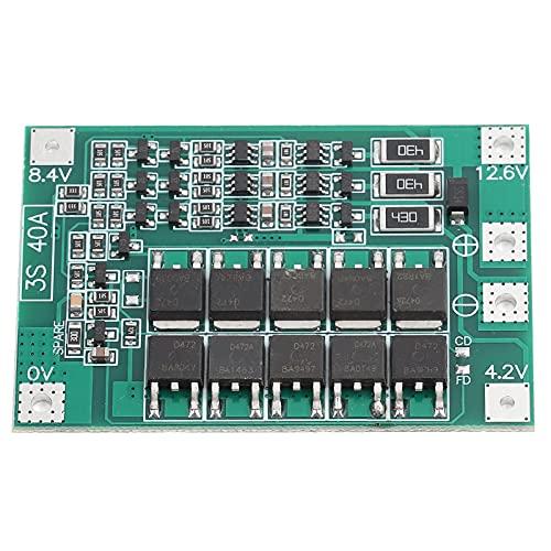 Shanrya Placa De Protección De Batería De Litio, Módulo De Celda De Lipo del Cargador De Batería De Litio 3S 12V 40A, Placa De Protección PCB BMS con Carga De Equilibrio