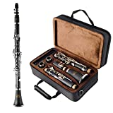 EASTROCK Clarinet Bb Flat 17 Nickel Keys Beginner Student Clarinet with 2 Barrels,Hard Case,Stand and Clarinet Cleaning Kit(Black Clarinet)