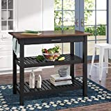 Homelity Kitchen Work Table with Storage Drawer, Free-Standing Butcher Block Island with Solid Wood Top, 40 Inch Wide Prep Table, Cutting Board Table with Wooden Top, and 2 Open Shelves (Black)