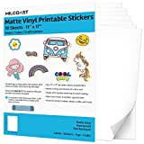 Milcoast Matte Waterproof Printable Vinyl 11' x 17' Full Sheet Sticker Paper Labels - Adhesive, Inkjet/Laser Printer Compatible - for Arts, Crafts, Decals, Stickers, and More (10 Sheets)
