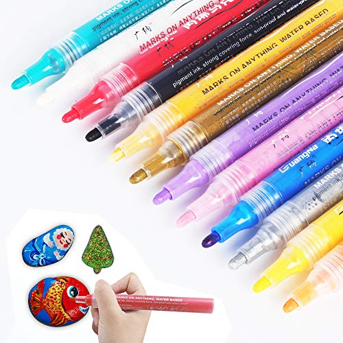 Acrylic Paint Marker Pens for Rock Painting, Stone, Ceramic, Glass, Wood, Canvas, Scrapbooking, Kids Crafts Making Supplies. Medium Tip Washable Acrylic Paint Markers Set of 12 Colors