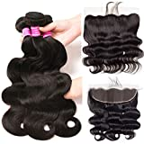 Brazilian Body Wave Hair 3 Bundles with Frontal Closure 13x4 Ear to Ear Lace Frontal with Baby Hair 100% Unprocessed Virgin 10A Human Hair Extensions Weave Natural Black Color (12 14 16+10 Frontal)