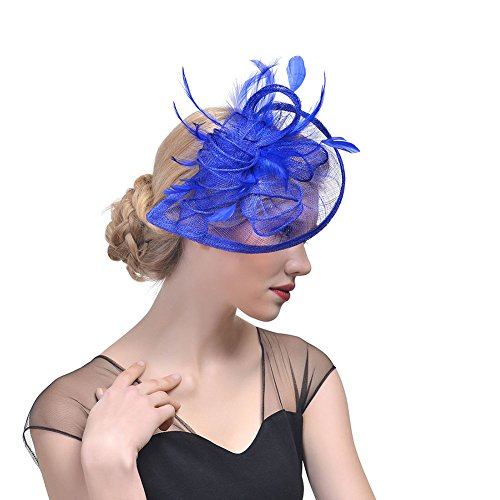 Dames Lady Mesh Hoed Cap Bruid Veer Haar Clip Headdress Bruiloften Party Haaraccessoires Blauw