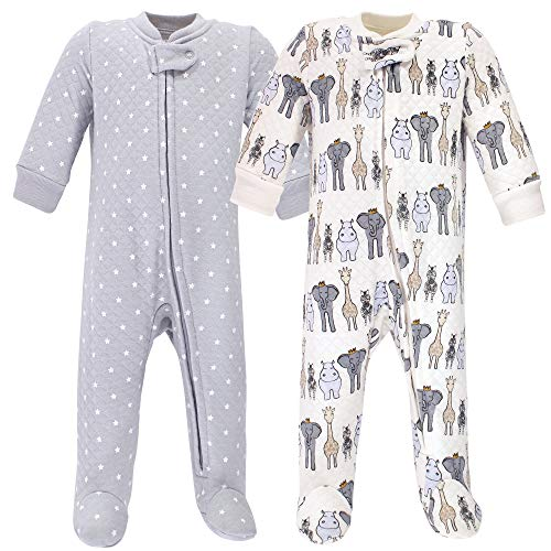 Hudson Baby Unisex Baby Premium Quilted Zipper Sleep and Play, Royal Safari, 3-6 Months