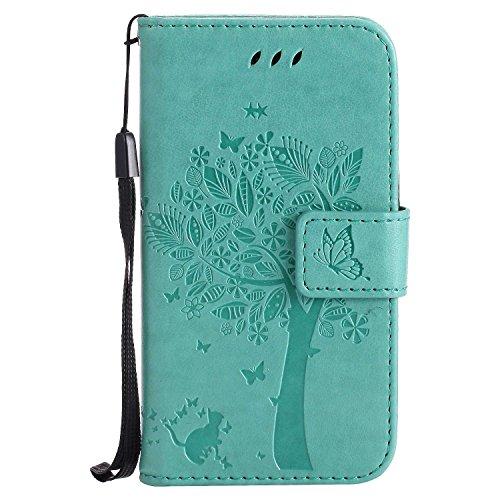 DENDICO Cover Galaxy Core Prime, PU Cuoio Portafoglio Custodia, Flip Protettivo Cover in Pelle per Samsung Galaxy Core Prime - Verde
