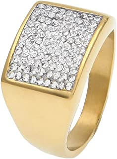 Anello Moca con Gioielli Personalizzati Moca Anello in Oro 18 carati con Diamante simulato Bling CZ per Uomo e Donna
