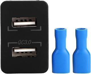 Suuonee Car Dual USB-laddare, Dual QC3.0 Fast Charge Dual USB Charging Socket Modification för telefon (grön)