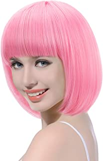 Updated Light Pink Short Bob Wig with Bangs-13