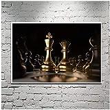 MuzimuziliNegro Y Dorado De Ajedrez Moderno Lienzo Pintura Pared Arte Imagen para Sala De Estar Póster E Impresiones Decoración del Hogar-50X75Cm Sin Marco