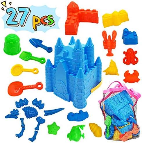 Kids Beach Sand Toys Set 27pcs Beach Toys Castle Molds Sand Molds Beach Bucket Beach Shovel product image