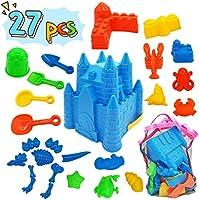 Kids Beach Sand Toys Set, 27pcs Beach Toys Castle Molds Sand Molds, Beach Bucket, Beach Shovel Tool Kit, Sandbox Toys for...