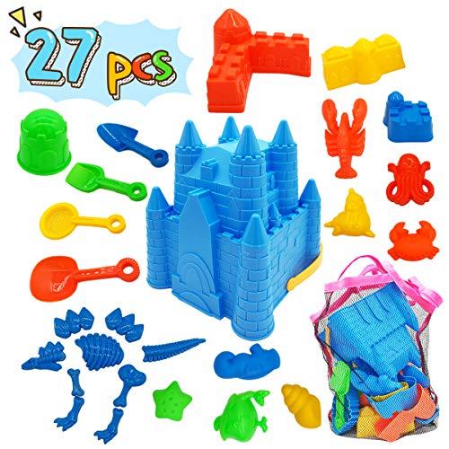 Kids Beach Sand Toys Set, 27pcs Beach Toys Castle Molds Sand Molds, Beach Bucket, Beach Shovel Tool Kit, Sandbox Toys for Toddlers, for Toddlers Kids Outdoor Indoor Play Gift 1 Bonus Mesh Bag Include