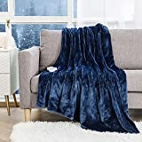 Heated Throw Electric Blanket 50' x 60' Flannel Fast Heating Blanket ETL Certification with 5 Heating Levels & 4 Hours Auto Off Machine Washable