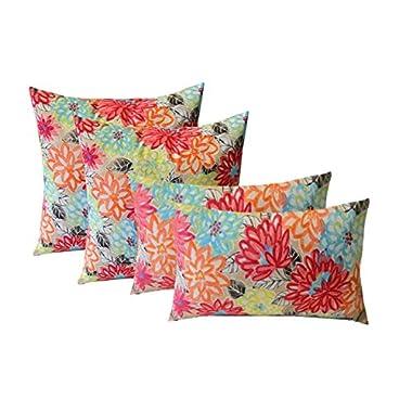 Set of 4 Indoor / Outdoor Pillows - 17  Square Throw Pillows & 12  x 20  Rectangle / Lumbar Decorative Throw Pillows - Yellow, Orange, Blue, Pink Bright Artistic Floral