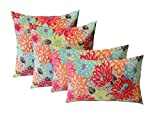 RSH Decor Indoor Outdoor Set of 4 (2-17'x17' Square and 20'x12') Lumbar Decorative Toss Throw Pillows - Yellow, Orange, Blue, Pink Bright Artistic Floral