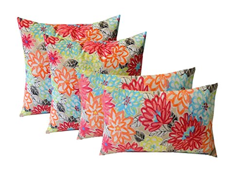 Indoor Outdoor Set of 4 (2-17'x17' Square and 20'x12') Lumbar Decorative Toss Throw Pillows - Yellow, Orange, Blue, Pink Bright Artistic Floral