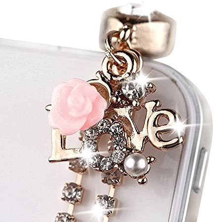 Cute Choice Crystal LOVE Pink ROSE Chain For Plug Charm Phone Ranking TOP9 Dust Cell