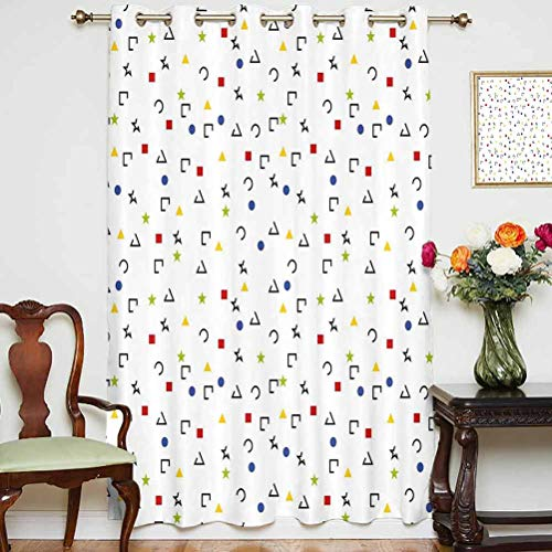 Geometric Sliding Door Curtain Abstract Triangle Square Star Circle Dot Figures Symbols Forms Artistic Design Grommets Panels Printed Curtains ,Single Panel 52x84 inch,for Kid's RoomMulticolor