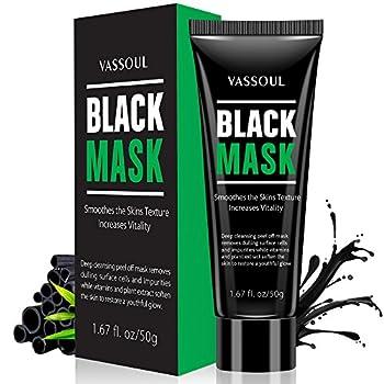 Vassoul Blackhead Remover Mask Peel Off Blackhead Mask - Deep Cleansing Black Mask Bamboo Activated Charcoal Peel-Off Mask