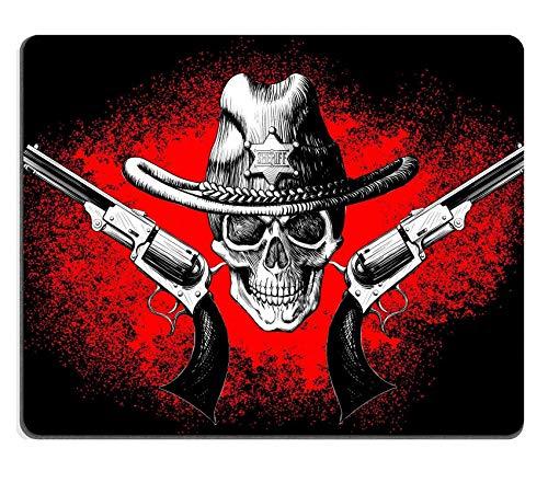 Rutschfestes Mousemat-Gummi-Mauspad,Gaming-Mousepad-Schädel Tragen Eines Cowboyhutes Mit Zwei Pistolen Auf Dem Schwarzen Und Roten Hintergrund 30X25CM,Maus Mausunterlage,Rutschfeste Unterseite