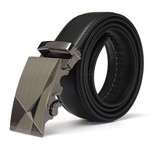 SODIAL(R) Ceinture en cuir Luxe Cuir Noir Automatique Decontractee Ceinture homme sangle de ceinture de ceinture Ceintures