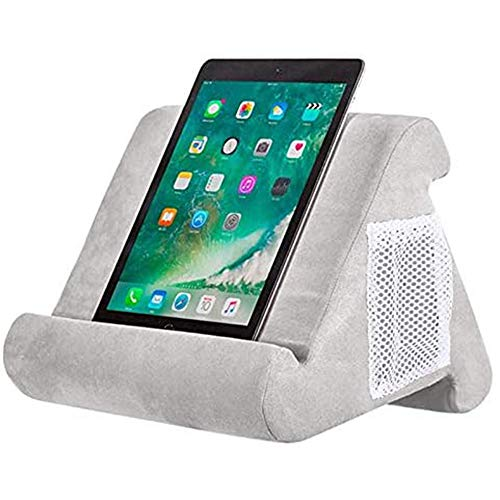 Abbcoert Grey Tablet Stand with Net Pocket Universal Multi-Angle Book Rest Reading Pad Support Cushion Tablet Wedge Holder