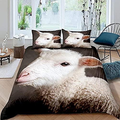 HSBZLH Tagesdecke 3D Print Schaf Bettwäsche Set Neugierig Baby Lamm Bettbezug Für Kinder Jungen Mädchen Bauernhaus Tier Trösterbezug