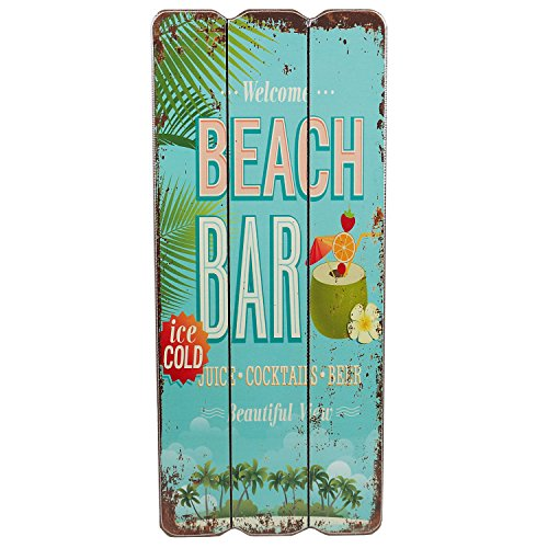 Woodpassion Holzschild Beach BAR Tropical Bar Wandschild MDF Wanddeko Schild Strand Urlaub Welcome Türschild Dekoschild 34x15 cm