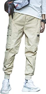 desolateness Mens Casual Athletics Pocket Chino Cargo Pants Elastic Waist Trousers Jogger Pants