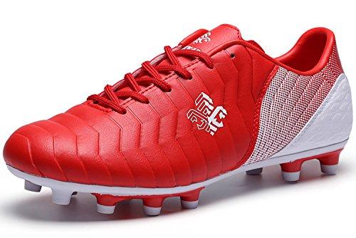 SaekekeFussballschuhe Kinder FG/TF Fußballschuhe Jungen Low Top Trainingsschuhe Für Unisex-Kinder, Rot Weiß Fg Ag, 35 EU
