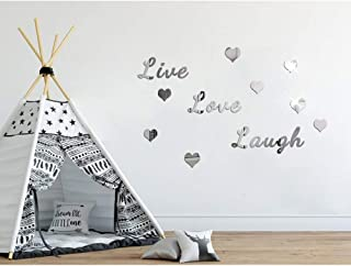 BHSTAR Live Love Laugh Letter Motto Wall Sticker with Heart Self Adhesive Acrylic Home Decoration Decals Silver Mirror Reflection